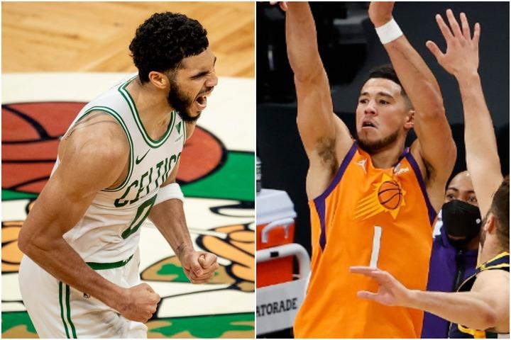 ともに今季3度目の週間MVPに輝いたセルティックスのテイタム(左)とサンズのブッカー(右)。(C)Getty Images