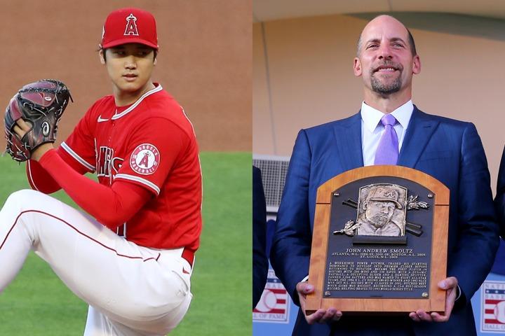 かつてブレーブスの黄金期を支えたレジェンド、スモルツ(右)も大谷(左)のスプリットには脱帽した。(C)Getty Images