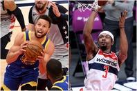 ここまでカリー(左)は平均31.9点、ビール(右)は31.4点をマーク。前者はキャリア2度目、後者は初の得点王タイトルを狙う。(C)Getty Images