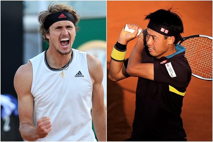 錦織(右)にリードされながらも逆転勝利をもぎ取ったズベレフ(左)。(C)Getty Images