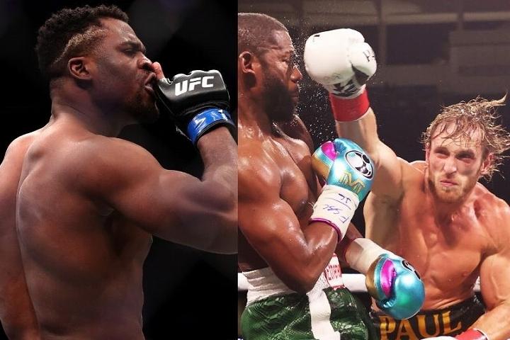 UFCのヘビー級王座に君臨するガヌー(左)は、ポールとメイウェザー(右)が披露した凡戦に苦言を呈した。(C)Getty Images