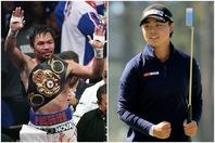 フィリピンの国民的英雄、パッキャオ(左)も新女王・笹生(右)の偉業達成を称えた。(C)Getty Images