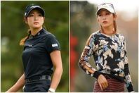 """原英莉花(左)と金田久美子(右)。女子ゴルフ界が誇る2大ビジュアルクイーンの""""初共演""""が実現した。(C)Getty Images"""