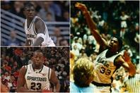 ミシガン州大はマジック(右)在学中の1979年とリチャードソン(左上)がいた2000年に優勝。現代ではグリーン(左下)がNBAで活躍中だ。(C)Getty Images