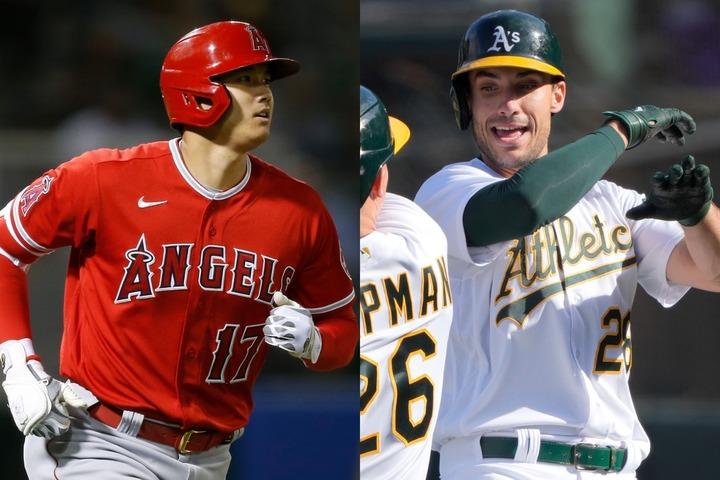 今季の本塁打王で熾烈なバトルをしている大谷(左)とオルソン(右)。球界屈指のスラッガーも、そのパワーには驚きが隠せないようだ。(C)Getty Images