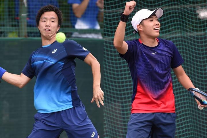 早大のエースとしてチームを引っ張った白石光(左)。藤原智也(右)はシングルスで慶應唯一の勝ち星を挙げた。写真:スマッシュ編集部