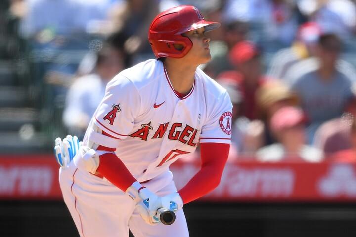 大谷が3試合連続となる23号を放ち、メジャー本塁打王に並んだ。(C)Getty Images