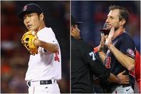 マウンド上でチェックを受けるシャーザー(右)。ベテラン投手らの憤慨に上原氏(左)が持論を展開した。(C)Getty Images