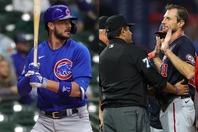 """球界を代表するスター選手のブライアント(左)は""""珍しい""""(?)新ルール賛成の立場。22日の試合では、大投手マックス・シャーザー(右)が3度も検査を受けさせられた。(C)Getty Images"""