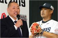 引退を発表した松坂大輔(右)を労う清原和博氏(左)。写真:THE DIGEST写真部(左)/滝川敏之(右)