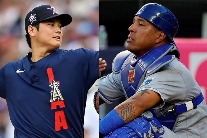 大谷(左)の投じた剛速球を目の当たりにしたS・ペレス(右)。この実力派捕手もその球威には驚きを隠さなかった。(C)Getty Images