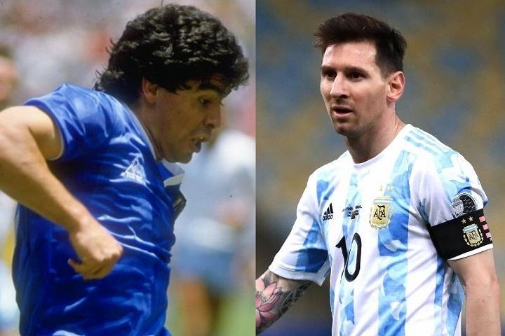 アルゼンチンが生んだふたりの天才、マラドーナ(左)とメッシ(右)。ケンペス氏がユニークな比較論を展開した。(C)Getty Images
