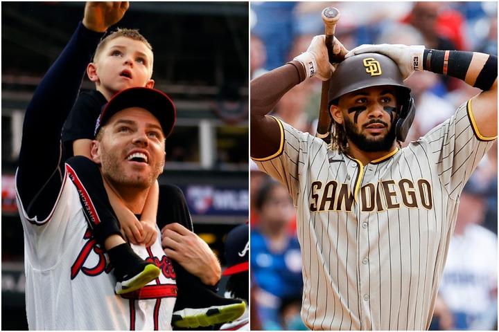 フリーマンの息子チャーリーくん(左上)が憧れるタティースJr.(右)。この2人の絆が注目を集めている。(C)Getty Images