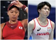テニスの大坂(左)と体操の内村(右)。期待されていたふたりの選手の早期敗退に、海外でも衝撃が広がっている。(C)Getty Images