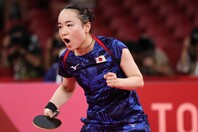 今大会絶好調のモンユを見事に撃破した伊藤。日本に女子シングルス史上初の銅メダルをもたらした。(C)Getty Images