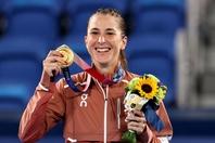 女子シングルスで金メダルを獲得したベンチッチ。同郷のフェデラーからのメッセージが力になったという。(C)Getty Images