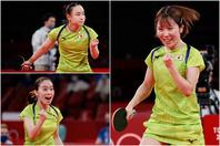 決勝進出を決めた日本。大一番に向けて石川(左下)は「3人で一丸となって楽しみたい」と語った。(C)Getty Images
