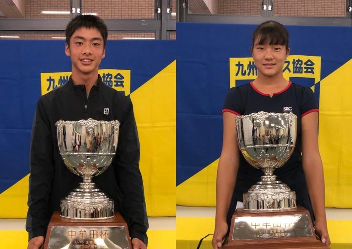 シングルス優勝の三好健太(左)と石井さやか(右)。写真:九州テニス協会
