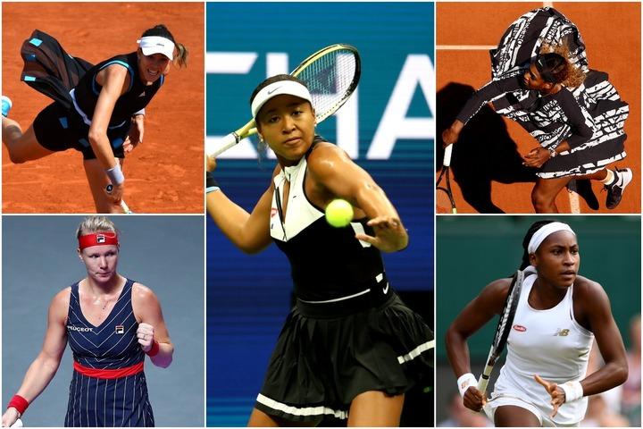 大坂(中央)、セレナ(右上)、ガウフ(右下)、ムグルサ(左上)、バーテンス(左下)と、今年のテニスファッションを盛り上げてくれた選手たち。(C)Getty Images