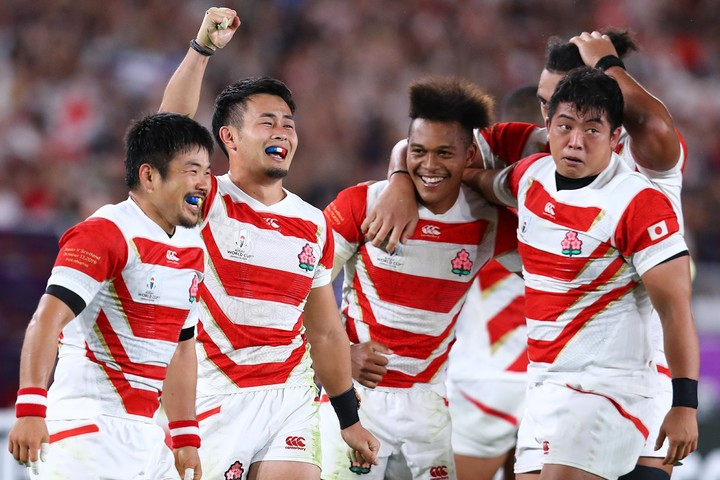 「ONE TEAM」という言葉に対する想いは、選手たちも強かったようだ。写真:茂木あきら(THE DIGEST写真部)