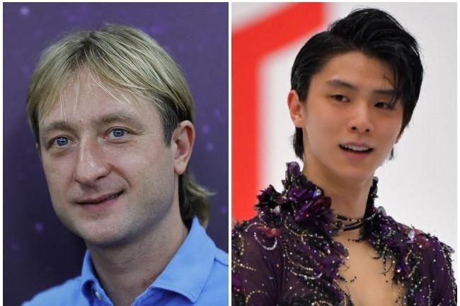 戦いを終えた羽生(右)へメッセージを送ったトリノ五輪の金メダリスト、プルシェンコ氏(左)。  (C) Getty Images