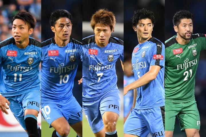 川崎からは小林(左)、大島(左中)、車屋(中央)、谷口(右中)、新井(右)に アンケートに回答してもらった。写真:THE DIGEST写真部