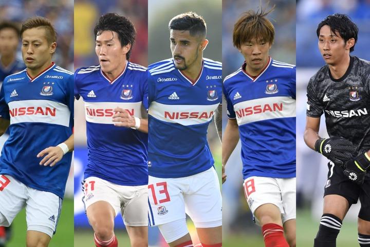 横浜からは仲川(左)、遠藤(左中)、マルチンス(中央)、広瀬(右中)、朴一圭(右)にアンケートに協力してもらった。写真:THE DIGEST写真部