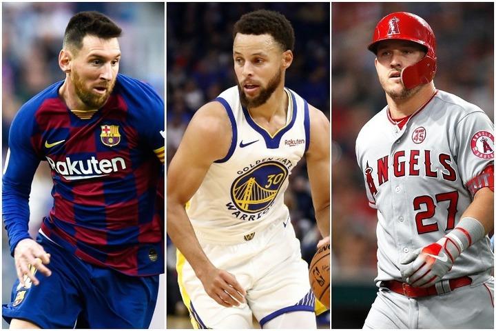 左からメッシ、カリー、トラウト。スーパースターたちを擁するチームの平均年俸ランクやいかに!? (C)Getty Image
