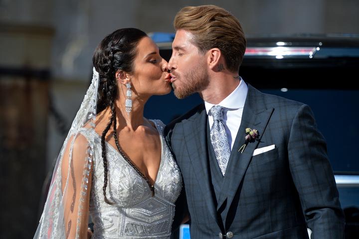 19年6月にセビージャで結婚式を挙げたS・ラモス(右)とピラール・ルビオ。(C) Getty Images