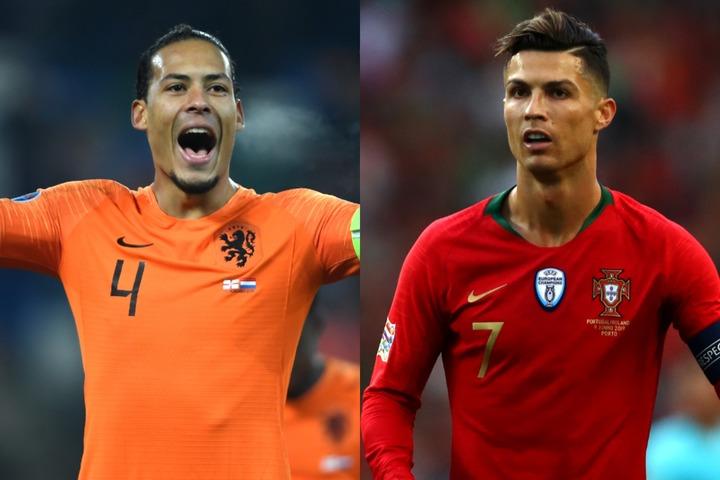 オランダ代表のファン・ダイク(左)とポルトガル代表のC・ロナウド(右)。(C)Getty Images