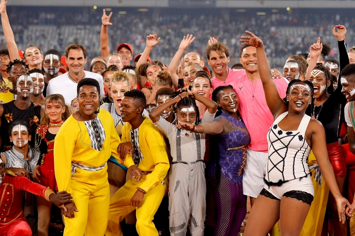 記録的な数の観衆を集めた、フェデラーとナダルの「Match in Africa」。(C)Getty Images