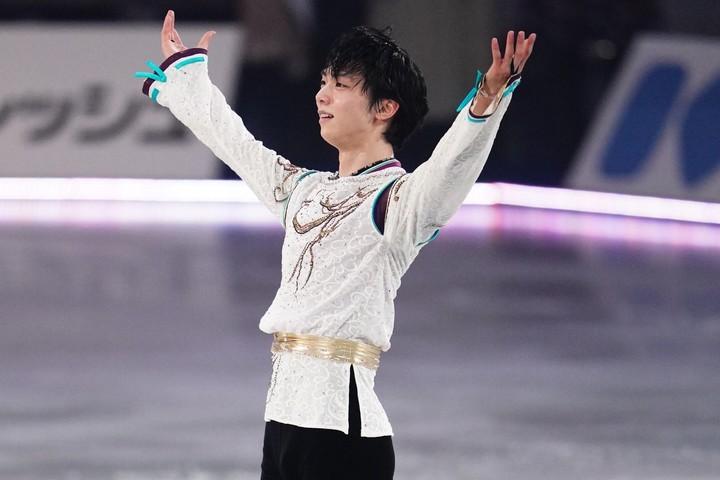 羽生は勝利者インタビューで「フリーでは満足な演技はできなかった」と反省を口にした。写真:山崎賢人(THE DIGEST写真部)